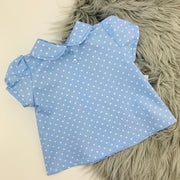 Blue & white Dungaree Romper & Shirt Set