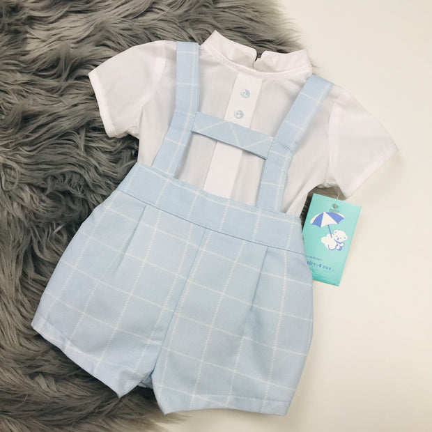 Blue & White H Bar Shorts & Shirt Set