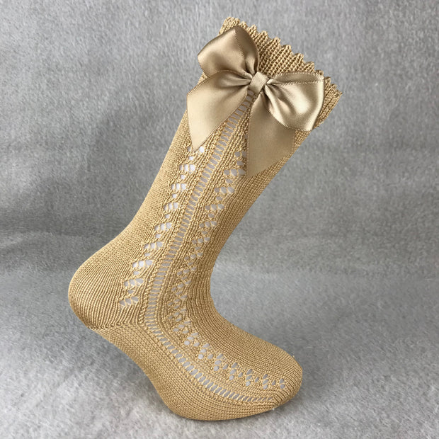 Camel Knee High Open Weave Spanish Bow Socks
