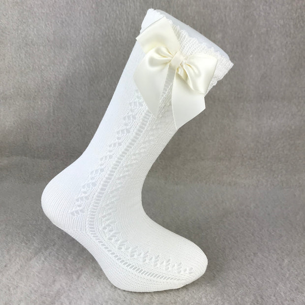 Ivory Knee High Open Weave Spanish Bow Socks