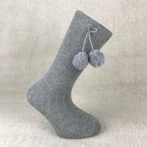 Grey Knee High Ribbed Pom Pom Spanish Socks