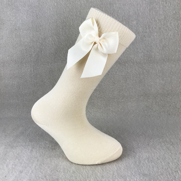 Oatmeal Knee High Single Bow Spanish Socks