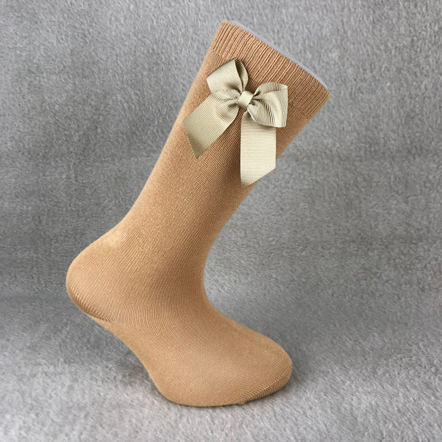 Camel Knee High Single Bow Spanish Socks