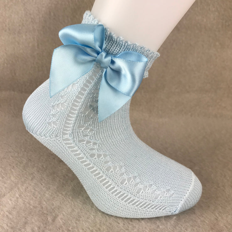 Baby Blue Ankle High Open Weave Spanish Bow Socks