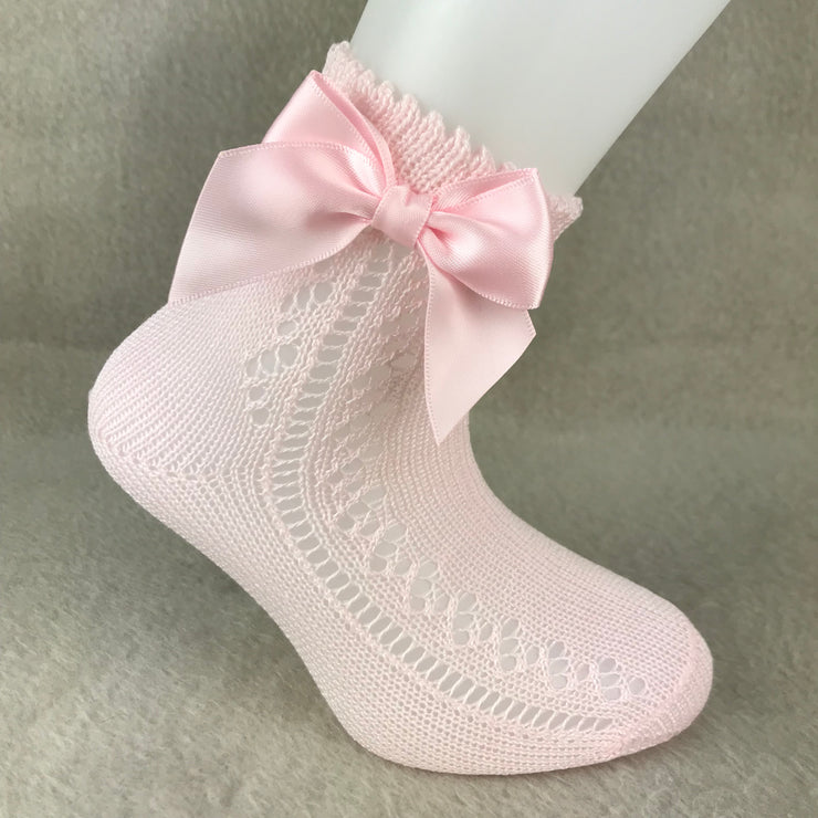 Baby Pink Ankle High Open Weave Spanish Bow Socks