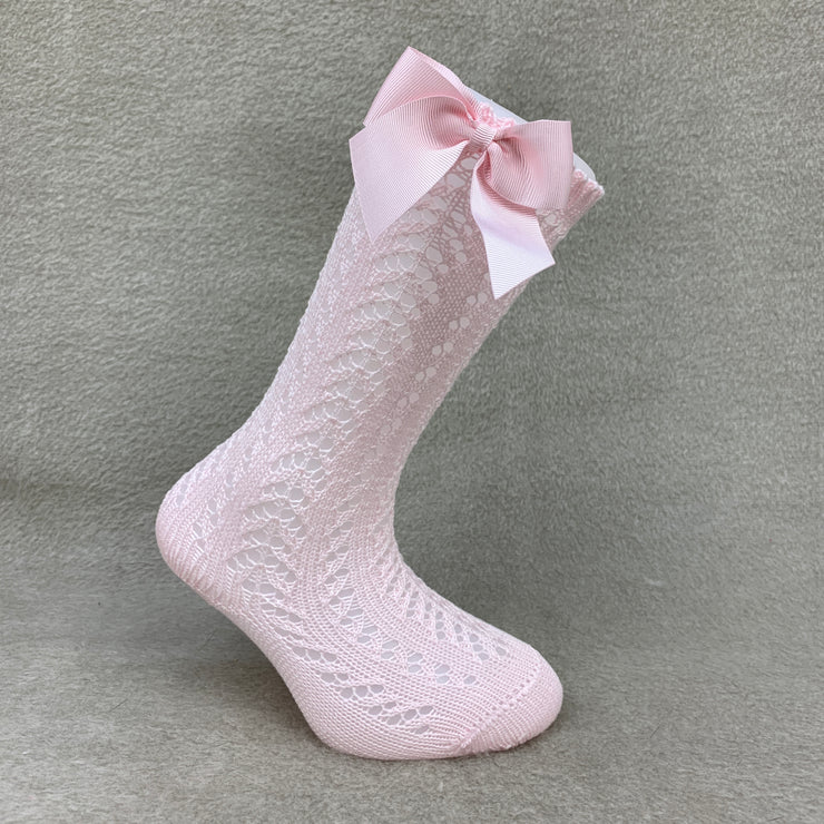 Baby Pink Knee High Open Weave Spanish Bow Socks