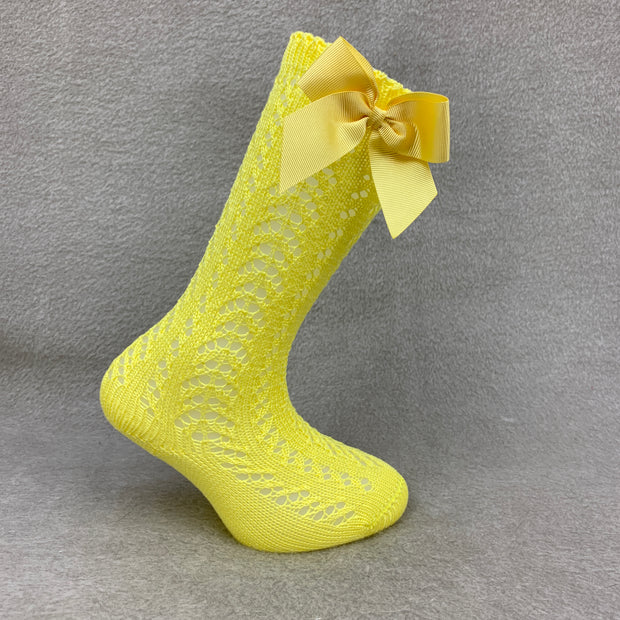 Yellow Knee High Open Weave Spanish Bow Socks