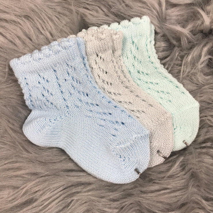 Ankle High Blue, Pearl Grey and Aquamarine Open Weave Spanish Socks