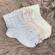 Ankle High Baby Blue, Pearl Grey And Aquamarine Open Weave Spanish Socks