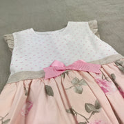 Pink & White Floral Print Spanish Dress