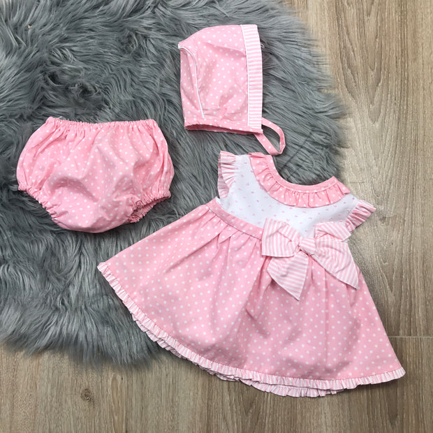 Pink & White Spotted Print Dress Set