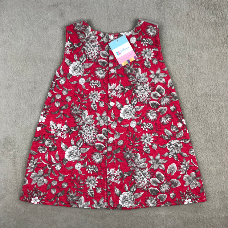 Red Floral Print Sleeveless A-Line Spanish Dress