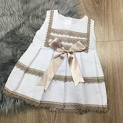 White & Camel Sleeveless A-Line Spanish Dress