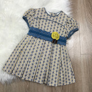 Yellow & Blue Dress With Blue Waistband