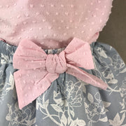 Pink Blouse & Blue Skirt Set 1