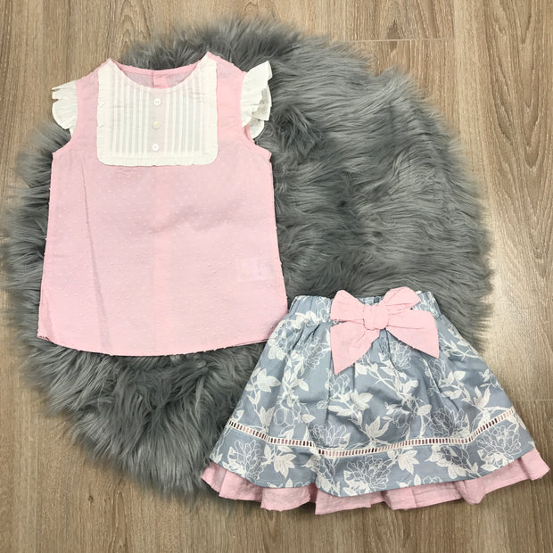 Pink Blouse & Blue Skirt Set