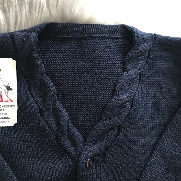 Navy Blue Knitted Spanish Cardigan V Neck