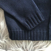 Navy Blue Knitted Spanish Cardigan Cuffs and Hem