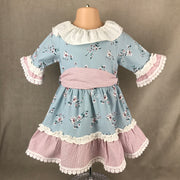 Blue Floral & Raspberry Spanish Dress 5