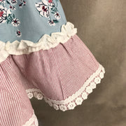 Blue Floral & Raspberry Spanish Dress 4