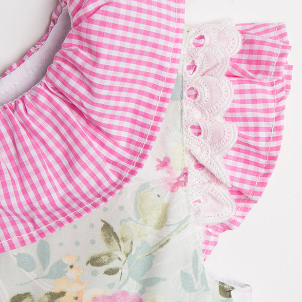 Pink Gingham & Green Floral Print Dress Collar & Sleeve