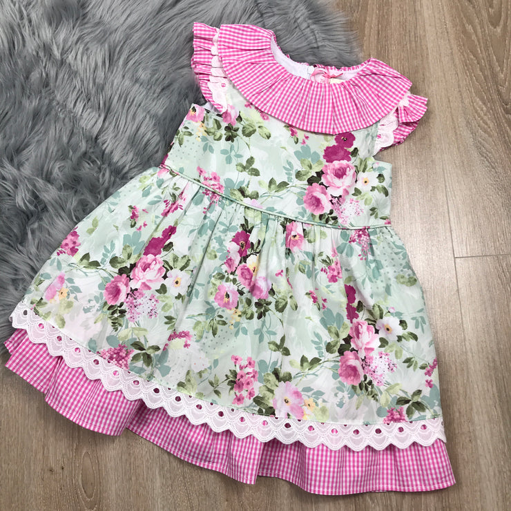 Pink Gingham & Green Floral Print Dress Front