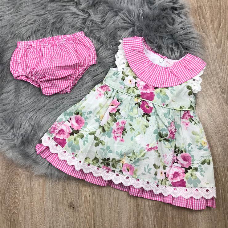 Pink Gingham & Green Floral Print Dress & Matching Pants Front