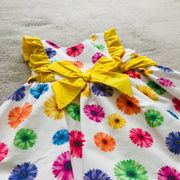 Yellow & White Floral Print Spanish Dress 2