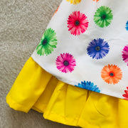 Yellow & White Floral Print Spanish Dress 3