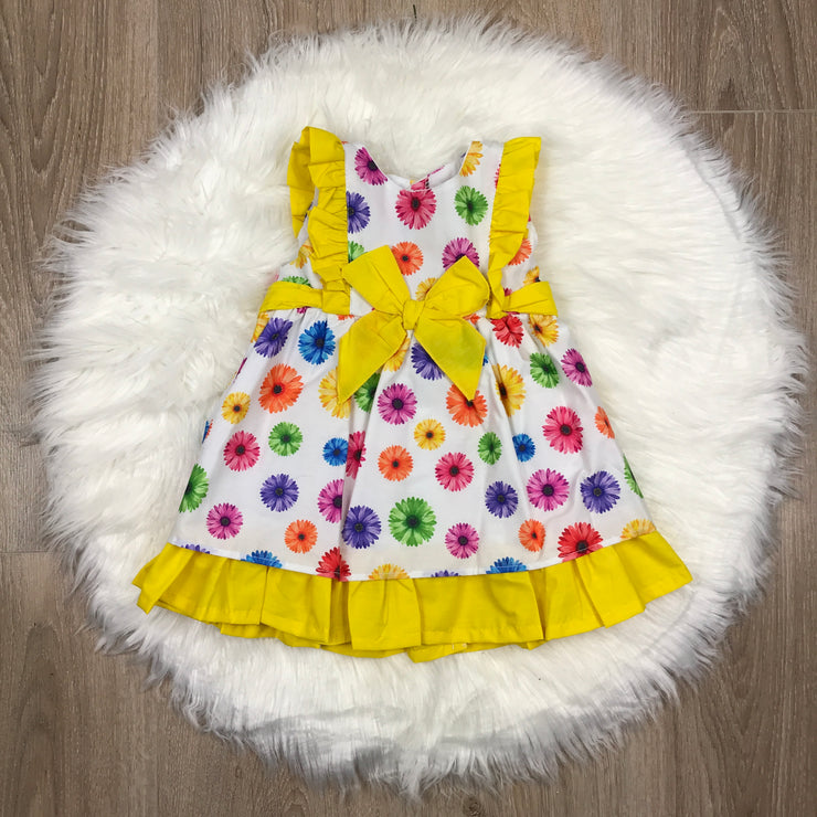 Yellow & White Floral Print Spanish Dress
