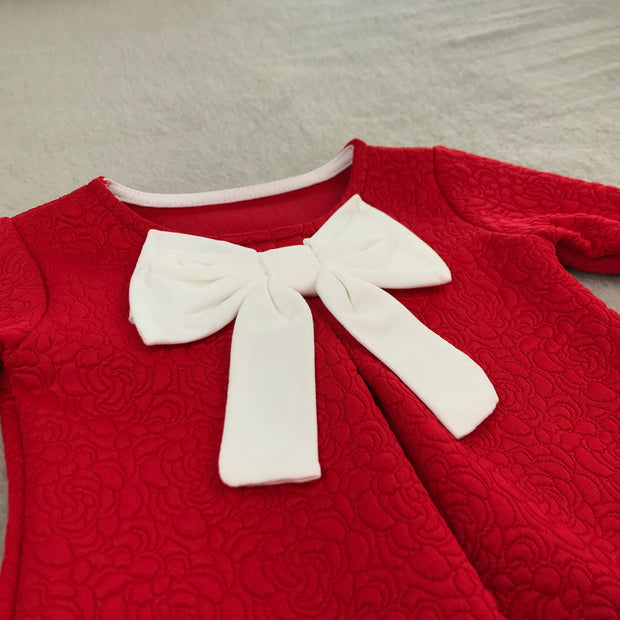 Red Jacquard Bow Dress