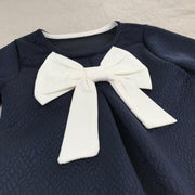 Navy Blue Jacquard Bow Dress