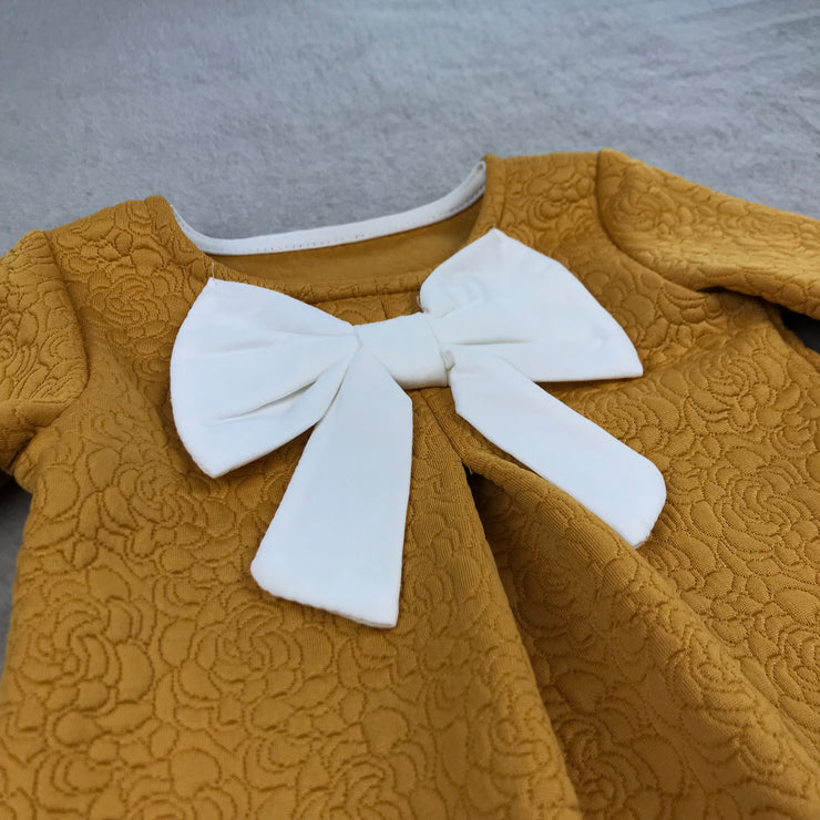 Mustard Jacquard Bow Dress