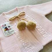 Girls Pink & Camel Knitted H-Bar Pom Pom Set