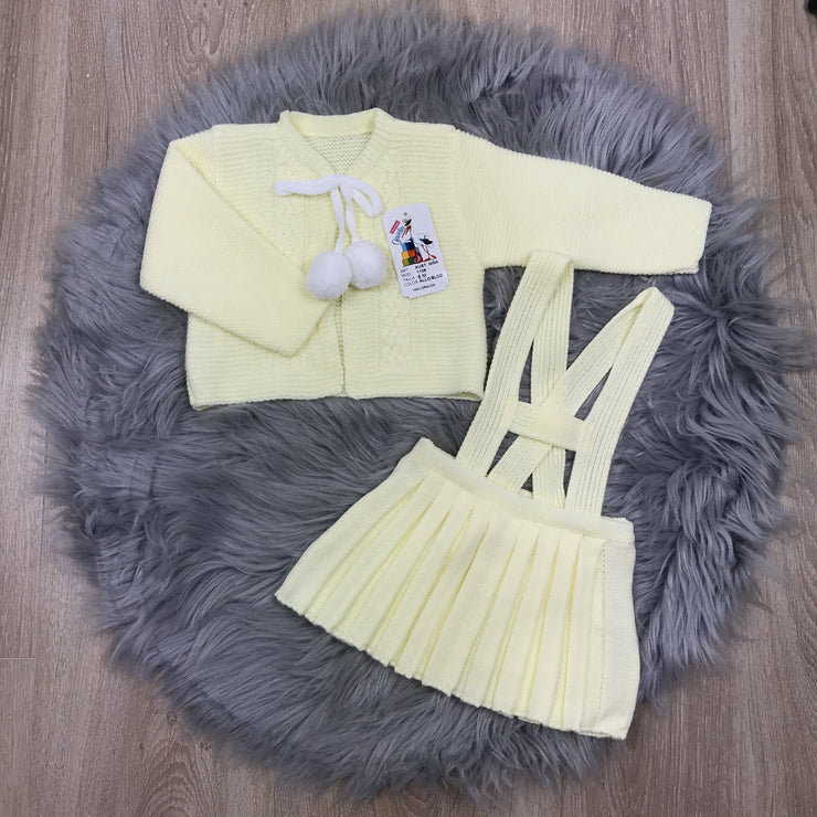 Girls Lemon & White Knitted H-Bar Pom Pom Set