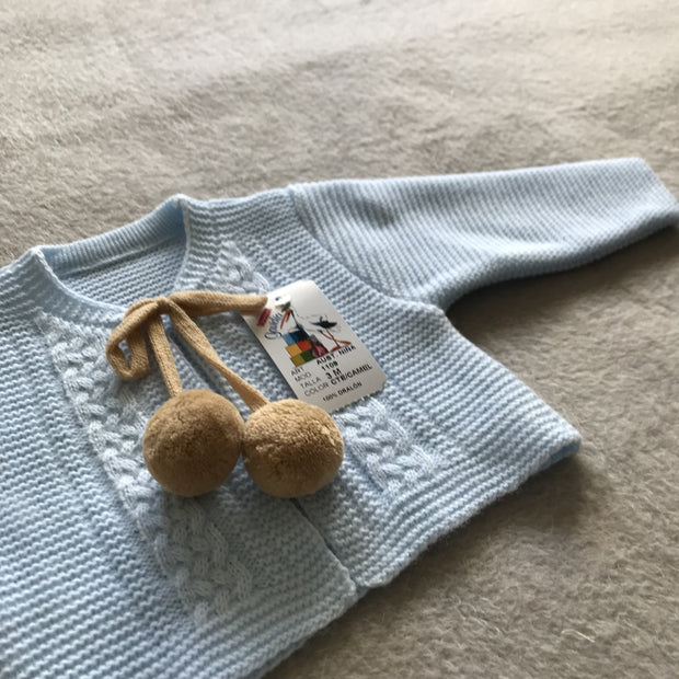 Girls Baby Blue & Camel Knitted H-Bar Pom Pom Set