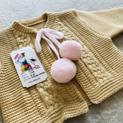 Girls Camel & Pink Knitted H-Bar Pom Pom Set