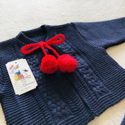 Girls Navy Blue & Red Knitted H-Bar Pom Pom Set