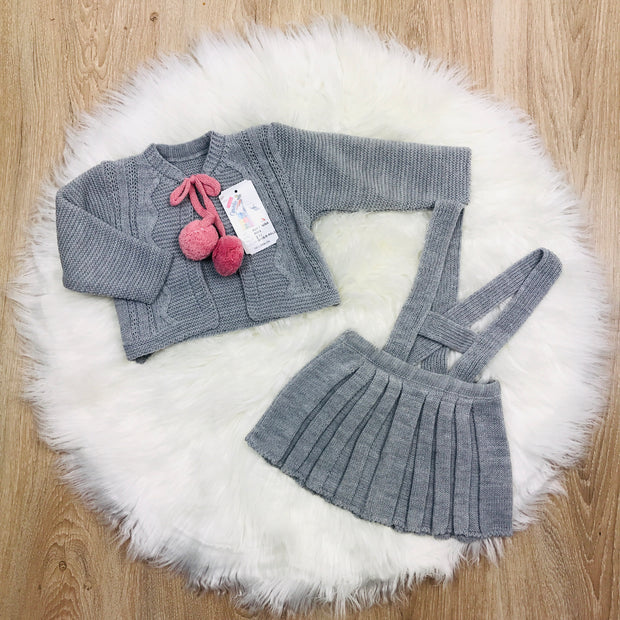 Girls Grey & Pink Knitted H-Bar Pom Pom Set