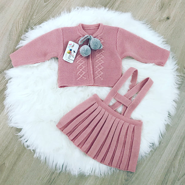 Girls Dusky Pink & Grey Knitted H-Bar Pom Pom Set