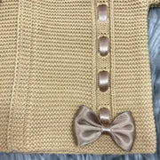 Camel Ribbon & Bow Knitted Spanish Cardigan