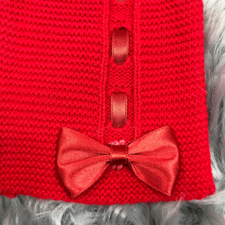 Red Ribbon & Bow Knitted Spanish Cardigan