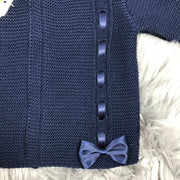 Navy Blue Ribbon & Bow Knitted Spanish Cardigan