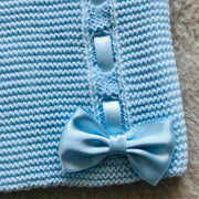 Baby Blue Ribbon & Bow Knitted Spanish Cardigan