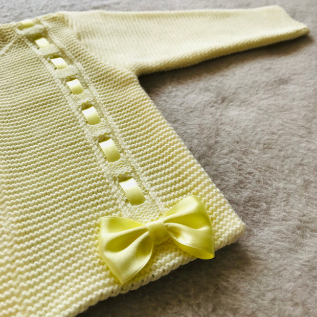 Lemon Ribbon & Bow Knitted Spanish Cardigan