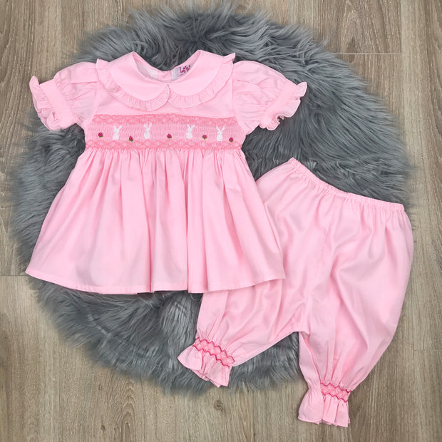 Pink Hand Smocked Pyjamas Front