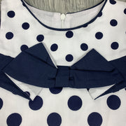 White & Navy Blue Spotted Dress