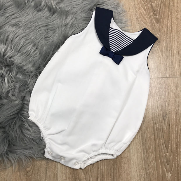White & Navy Blue Spanish Romper