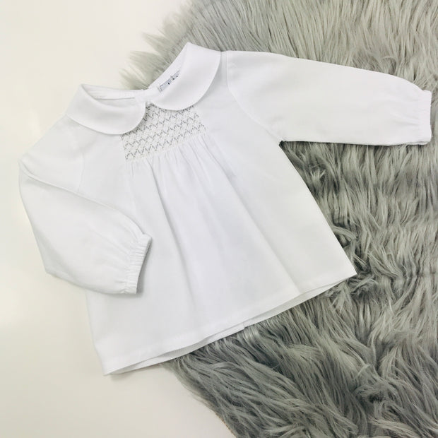 Grey & White smocked Top