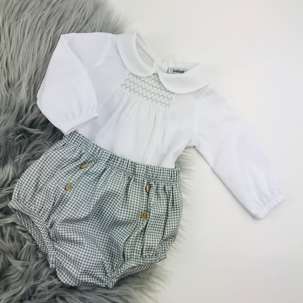 Grey & White smocked Spanish Jam Pants Set Close